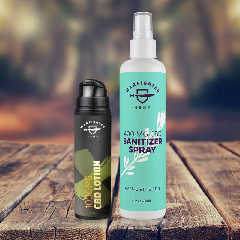 1000mg Topical Lotion + Hand Sanitizer Spray Bundle