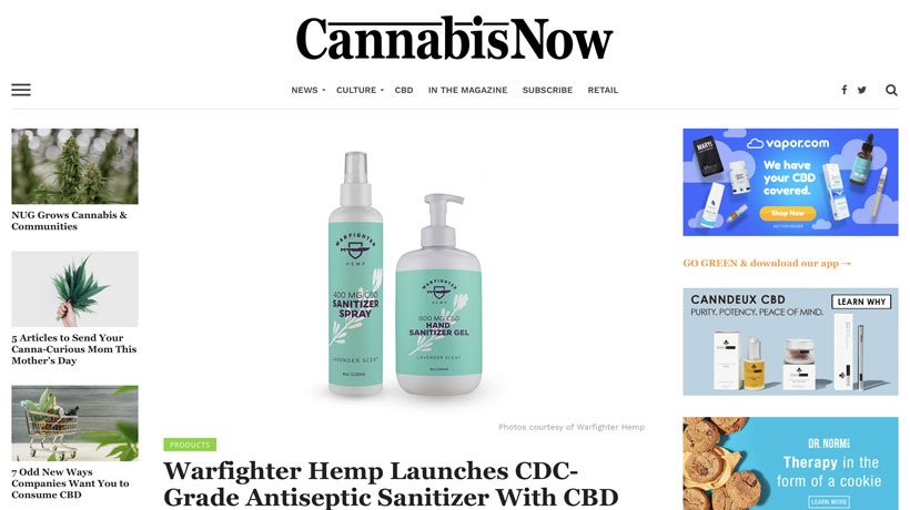 Cannabis Now – Warfighter Hemp Launches CDC-Grade Antiseptic Sanitizer With CBD